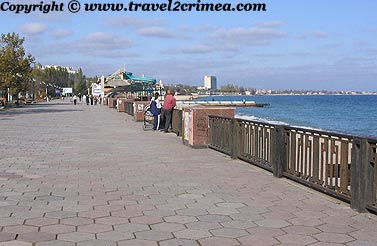 Feodosiya. Sea front promenade and city center